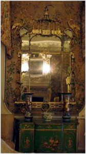 Chinoiserie mirror with wing pagoda and birds, 1770ies (Nostell Priory)