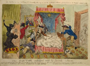 Republican cleric Dr. Richard Price spying on Marie Antoinette at Versailles as she is assailed by ruffians. Isaac Cruikshank, c.1790. Courtesy Library of Congress.