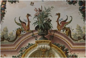 Mythological beasts inhabit the fresco in the Third Room of the Library,