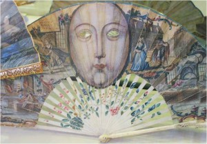 Masquarde fan from 1740: The eyes are cut out, so the fan can be used as a mask.