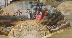 Ivory fan from 1750, painted with a dance scene.