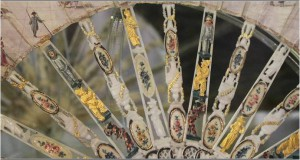 Painted, carved and pierced ivory sticks of a Venetian fan; 1750.