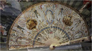 Rich details: painted ivory sticks of a fan from 1755.