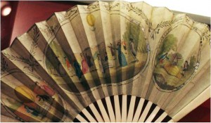 Fan commemorating unmanned balloon ascents in England and France in 1783.