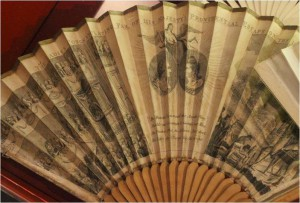 Printed fan commemorating King George III.'s escape from assassination. He was attacked by James Hatfield in Drury Lane Theatre on 15 May 1800.