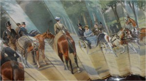 1880 torteise shell french riders nad carriages promenading in bois de blougne detail